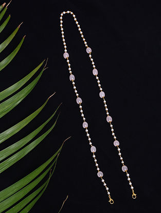 Pink White Beaded Mask Chain Cum Necklace