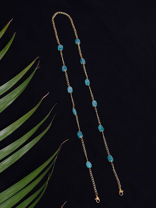 Blue Gold Tone Beaded Mask Chain Cum Necklace