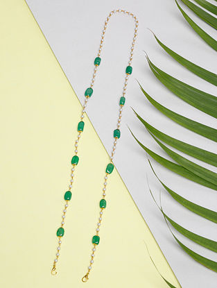 Green Gold Tone Beaded Mask Chain Cum Necklace
