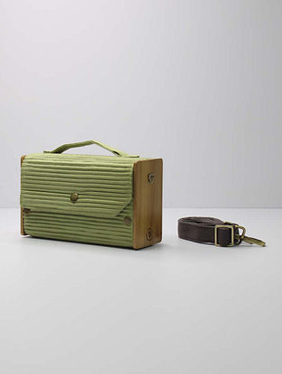 Pista Green Handcrafted Upcycled Cotton Clutch