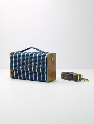 Blue Handcrafted Upcycled Cotton Clutch