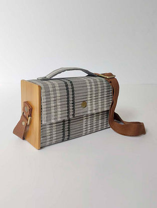 Grey Handcrafted Upcycled Cotton Clutch