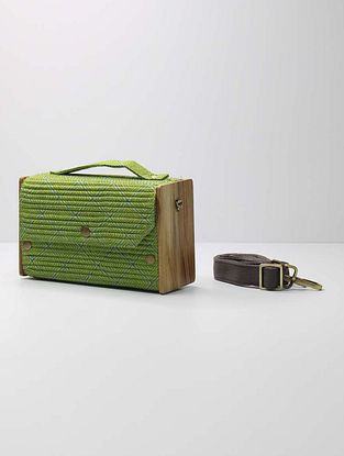 Green and Grey Handcrafted Upcycled Cotton Clutch with Interchangeable Sleeves