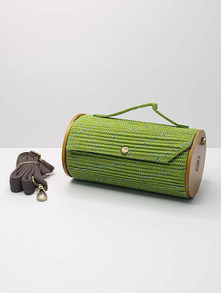 Green Handcrafted Upcycled Cotton Clutch
