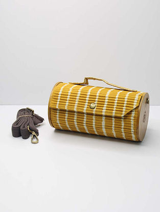 Yellow Handcrafted Upcycled Cotton Clutch