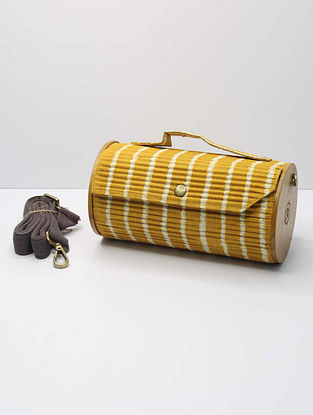 Yellow and Black Handcrafted Upcycled Cotton Clutch with Interchangeable Sleeves