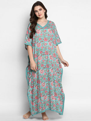 Turquoise and Pink Hand Block Printed Cotton Kaftan