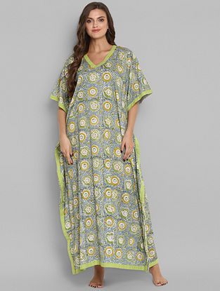 Lime Green and Blue Hand Block Printed Cotton Kaftan