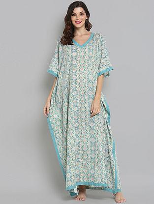Aqua Blue and Beige Hand Block Printed Cotton Kaftan