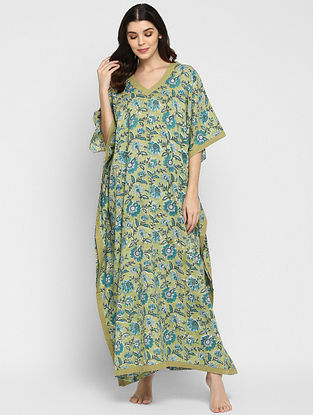 Olive Green and Turquoise Hand Block Printed  Cotton Kaftan