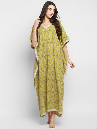 Yellow and Beige Hand Block Printed  Cotton Kaftan