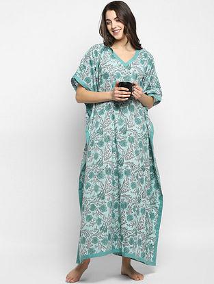 Aqua Blue and Grey Hand Block Printed  Cotton Kaftan