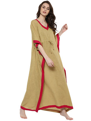 Beige and Red Pink Cotton Kaftan