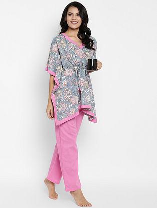 Grey and Pink Hand Block Printed Cotton Kaftan