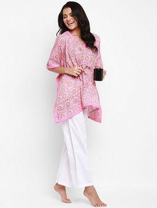 Pink and Yellow Hand Block Printed Cotton Kaftan