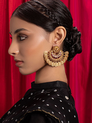 Red Gold Tone Temple Earrings