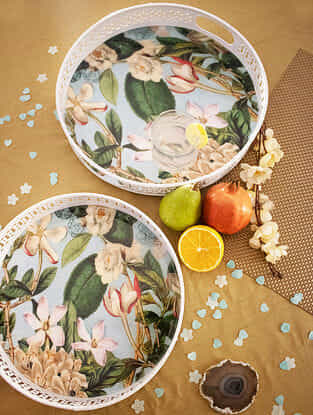 Tropical Floral Print White Laser Cut Iron Trays (Set of 2)