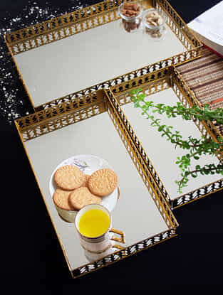 Gold Laser Cut Rectangle Mirror Trays (Set of 3)