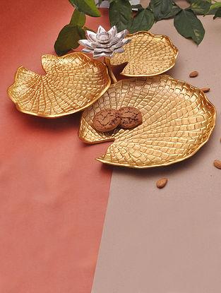 Gold Lotus Three Leaf Platters