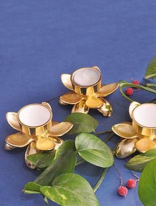 Gold Lotus T-light Holders (Set of 3)