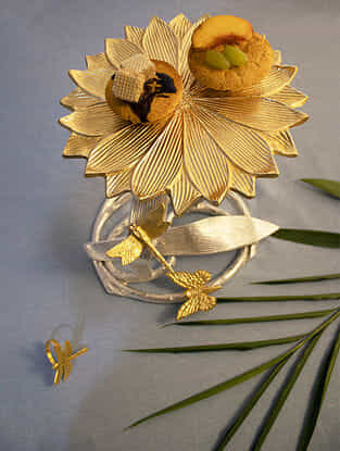 Gold Dragon Fire And Butterfly Pedestal Platter (Dia- 10.5in, Height-10.5in)