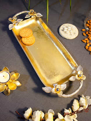 Gold and Silver Plated Lustrous Long Floral Tray(L-17in, W-7in, H-2in)