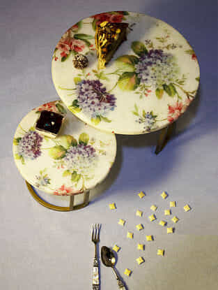Hydrangea Floral Nesting Marble Cake Stand Set of 2