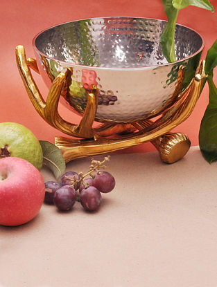 Golden Twigs Stand with Hammered Nickle Plating Bowl