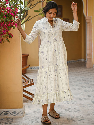 Cream Hand Block Printed Cotton Dress