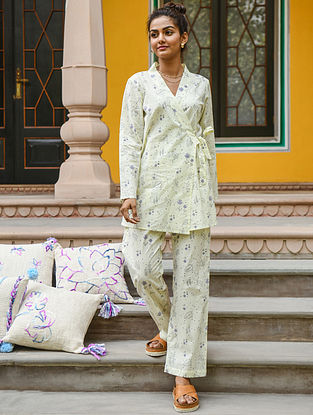 Cream Hand Block Printed Cotton Top with Pants