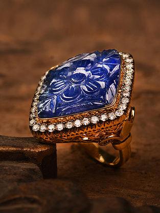 Blue Gold Polki Diamond Ring with Tanzanite (Indian Size -15.5)
