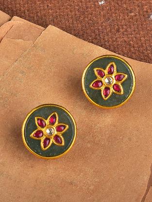 Green Gold Polki Earrings