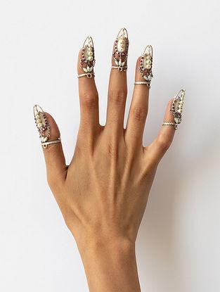 Tribal Silver Kundan Stone Adjustable Nail Ring (sold as a Single Piece)