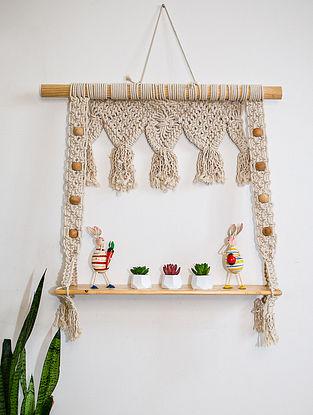 White Macrame Hanging Wall Shelf (L-23in ,W-28in)