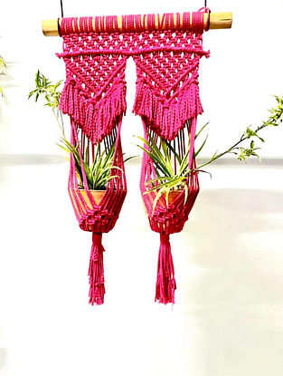 Red Macrame Hanging Double Plant Holder (L-32in ,W-16in)