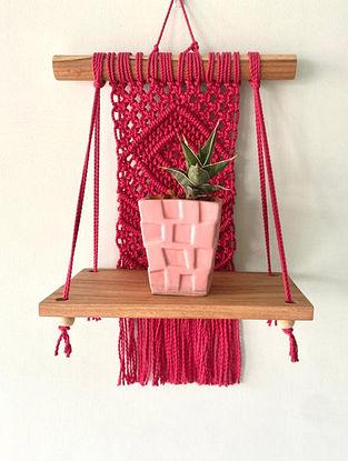 Red Macrame Plant Shelf (L-24in ,W-12in)