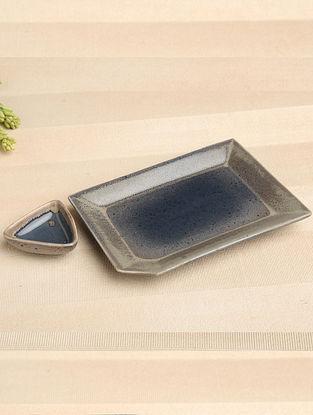 Denim Blue Ceramic Platter and Dip Bowl