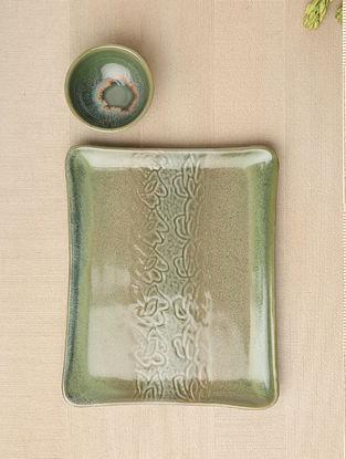 Sea Green Ceramic Platter and Dip Bowl