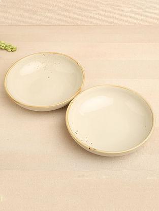Spray White Ceramic Bowl (Dia-7.5in, H-2in) ( Set of 2 )