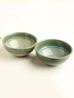 Sea Green Ceramic Serving Bowl (Dia-7.5in, H-3.25in) ( Set of 2 )