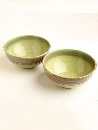 Parrot Green Ceramic Serving Bowl (Dia-7.5in, H-3.25in) ( Set of 2 )