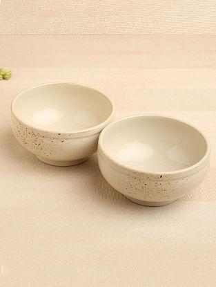 Spray White Ceramic Soup Bowl (Dia-5.5in, H-3in) ( Set of 2 )