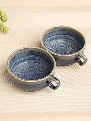 Denim Blue Ceramic Soup Bowl (Dia-4.75in, H-2in) ( Set of 2 )
