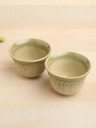 Green Ceramic Snack Bowl (Dia-4.5in, H-3in) ( Set of 2 )