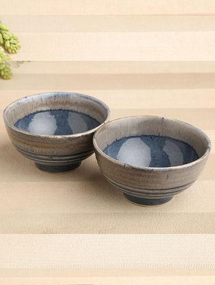 Denim Blue Ceramic Snack Bowl (Dia-5.5in, H-3in) ( Set of 2 )