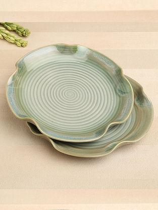 Green Ceramic Dinner Plate (Dia-10) ( Set of 2 )
