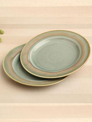 Green Ceramic Dinner Plate (Dia-10.75) ( Set of 2 )