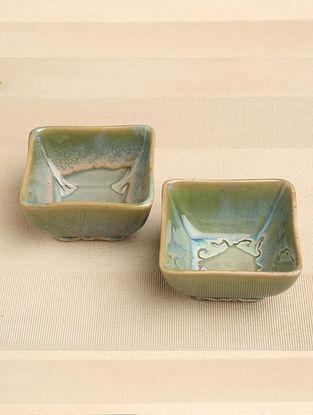 Green Ceramic Bowl (Dia-4in, H-2.25in) ( Set of 2 )