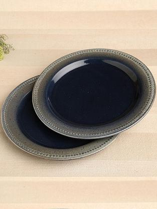 Denim Blue Ceramic Dinner Plate (Dia-10.75) ( Set of 2 )