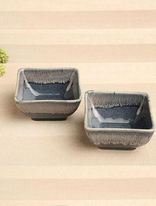 Denim Blue Ceramic Bowl (Dia-4in, H-2.25in) ( Set of 2 )